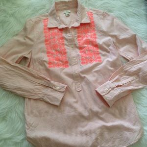 J. Crew factory embroidered oxford popover